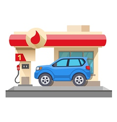 Gas station and car isolated on white vector image