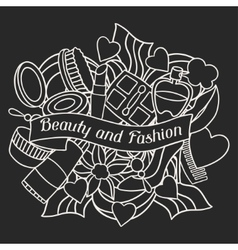 Beauty and fashion background design with cosmetic vector