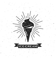 Ice cream cone and vintage ribbon vector