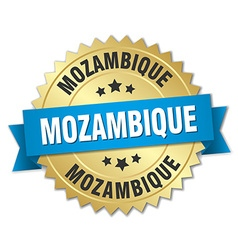 Mozambique round golden badge with blue ribbon vector