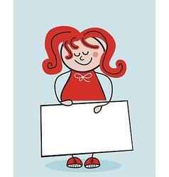 Little school girl and banner vector