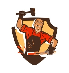 Blacksmith smithy logo or icon vector