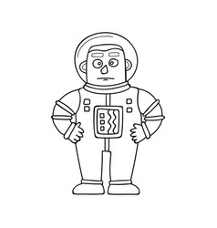 cartoon astronaut in doodle vector image vector image