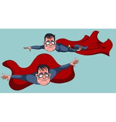 cartoon man in a Superman costume flies forward vector image vector image