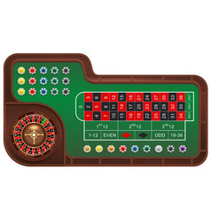 Casino gambling roulette table and chips vector