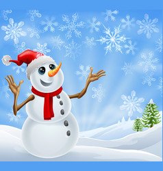 christmas snowman winter landscape vector image vector image
