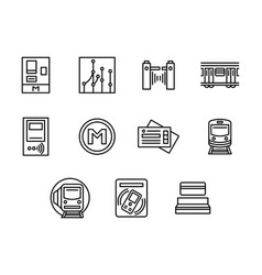 City subway black line icons set vector