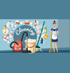 Cleaning tools banner horizontal cartoon style vector