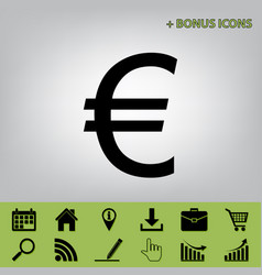 Euro sign black icon at gray background vector