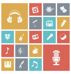 Flat design icons for music and sound vector