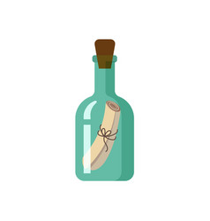 flat style icon of message in green glass bottle vector image