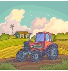 Harvest time Farm rural landscape vector image vector image