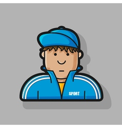 icon guy in a tracksuit and baseball cap vector image vector image