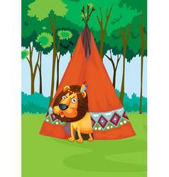 lion and tent vector image
