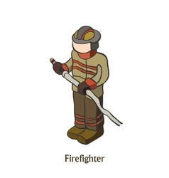 Man engaged in firefighting save people vector