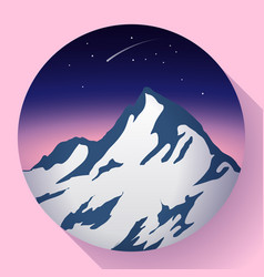 Mountain peak at night and comet icon vector