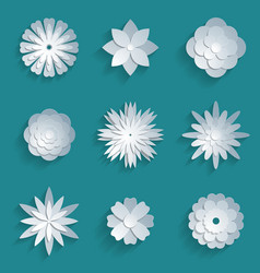 Paper flowers set 3d origami icons vector