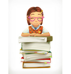 Pupil and school textbooks Little girl cartoon vector image vector image
