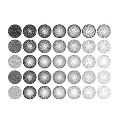 Set of 35 round stipple pattern for design Tile vector image
