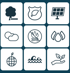 Set of 9 ecology icons includes ocean wave fire vector