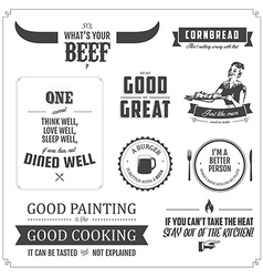 Set of restaurant menu typographic design elements vector