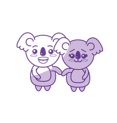 Silhouette cute couple koala wild animal with vector
