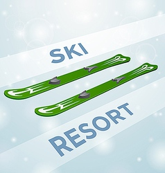 Ski resort skiing in motion vector image
