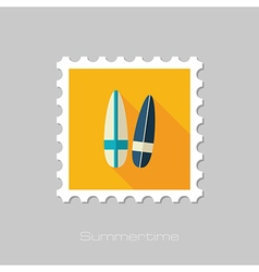 Surfboard flat stamp Summer Vacation vector image