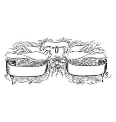 Triple banner with two birds vintage engraving vector