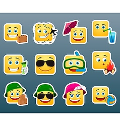 Vacation smile stickers set vector