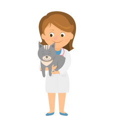 vet with cat vector image
