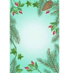 Winter frame with rose hips pine branches ivy vector