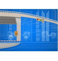 wireframe city streets scene vector image