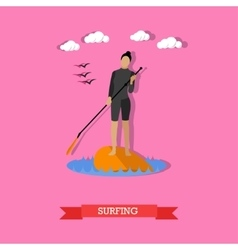 Woman swim on stand up paddle board flat design vector image