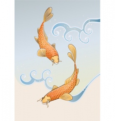 Two koi carps vector