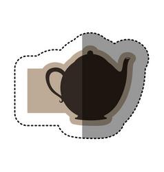 sticker monochrome emblem with teapot of tea close vector image