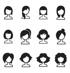 Woman hair style icons symbol i vector