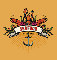 Seafood in cartoon style restaurant logo with vector