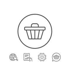 Shopping cart line icon online buying sign vector