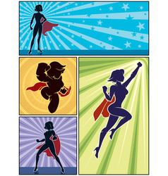 super heroine banners 1 vector image