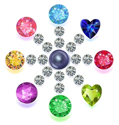 Round composition colored gems set vector