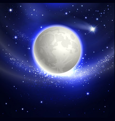 Moon in the night sky vector