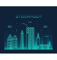 Stockholm skyline linear vector image