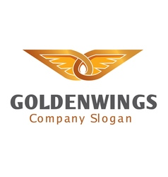 Golden wings design vector