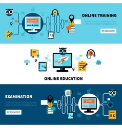 Flat online education banners collection vector