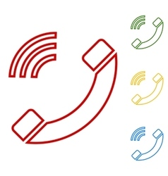 Phone sign set of line icons vector