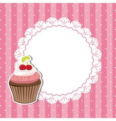 Cherry cupcake invitation card vector image