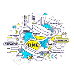 creative of time management with sand glass vector image