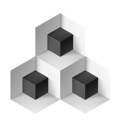 Abstract geometric object with black cubes for vector