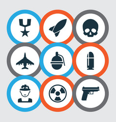 battle icons set collection of cranium slug vector image vector image
